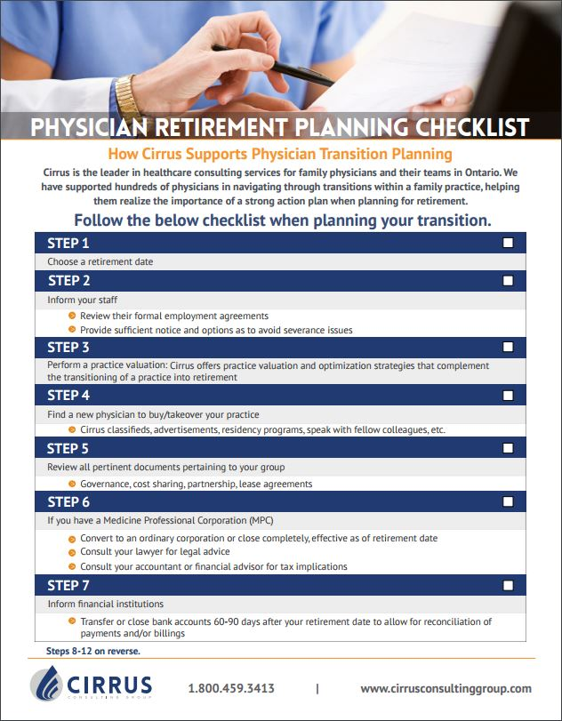 Physician Retirement Planning Checklist Cirrus Consulting Group