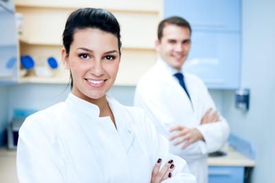 Female and male dentist